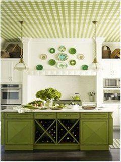 Bucatarie cu mobila verde si tapet pe tavan