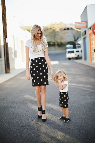 Women's Black and Gold Glitter Polka Dots Pencil Skirt – inspiredbytess.com
