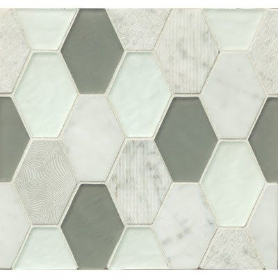 Luxury Accent tile in hexagon of green and marble that updates forest green countertops or flooring in