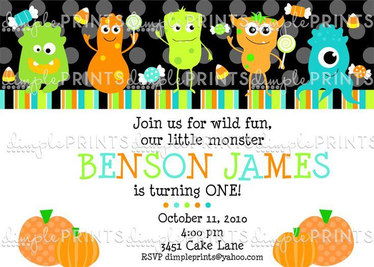 little monster halloween birthday invitation - Halloween Birthday Invitations Printable