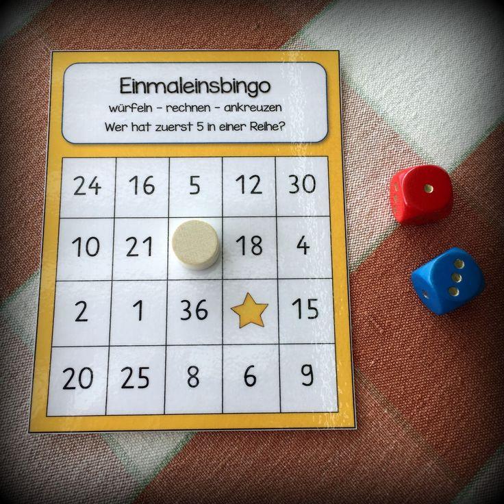 Einmaleins-Bingo: 1x1 bis 6x6 (oder Ergebniszahlenfeld ändern für 10er-Würfel)
