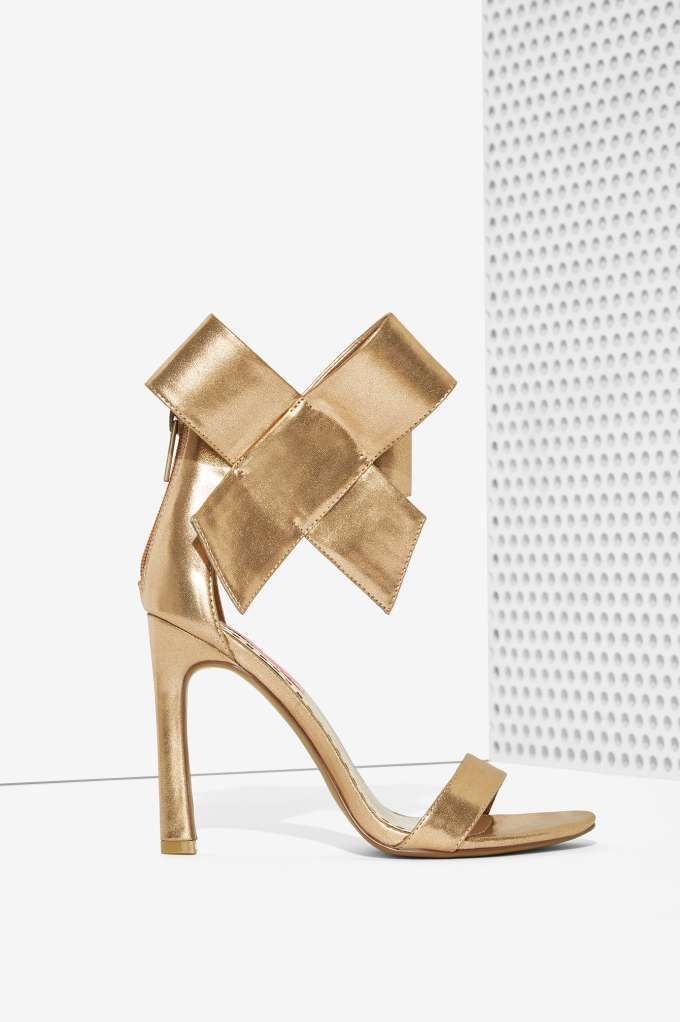 Betsey Johnson Frisky Bow Leather Heel - Gold - Shoes | Get Discovered | Open Toe