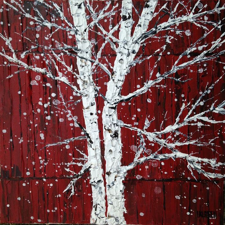 Silver Beeches by a Red Barn on a Snowy Day, Acrylic on canvas, 10 x 10 inches
