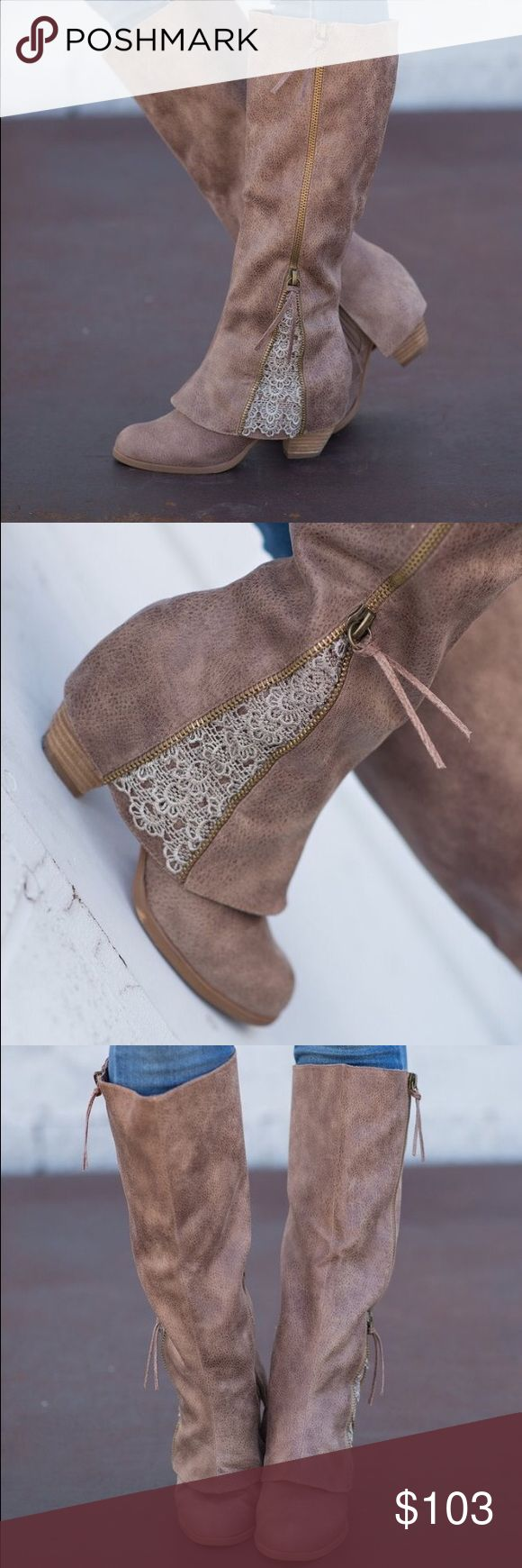 """Not Rated Boots These gorgeous babies are brand new, never worn! Love these but I have to many boots! Measurements 3.5"""" heel hieght, 16.5"""" circumference , 18"""" tall, color is Taupe! Not Rated Shoes Heeled Boots"""