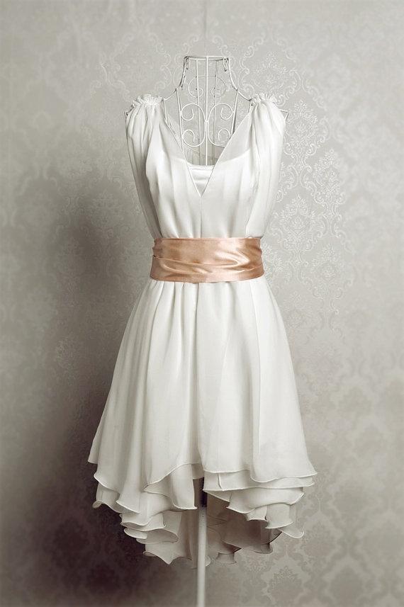 Vintage Chiffon Summer Dress with Satin Sash  Light by AceFashion, $69.00