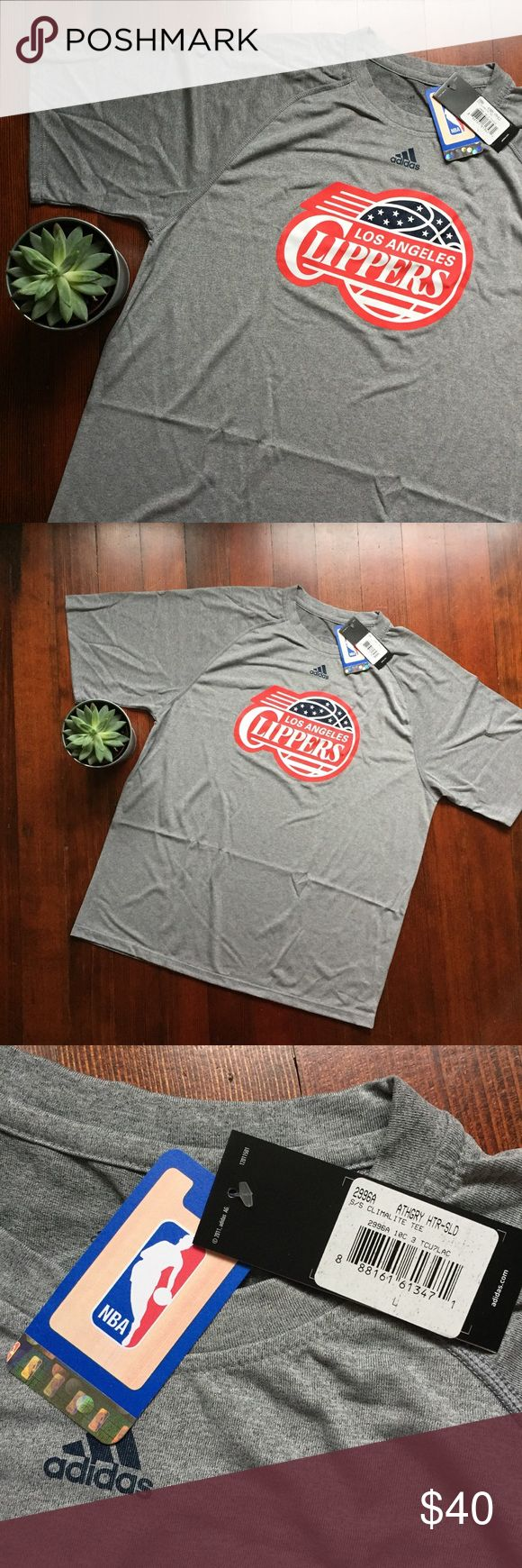 NWT LA Los Angeles Clippers NBA Basketball Tshirt This is a brand new with tags great adidas Tshirt. It has an LA Clippers tee. Has an athletic feel--> climalite.  🔹size- large 🔹pit to pit- 22.5 inches 🔹length- about 29 adidas Shirts Tees - Short Sleeve