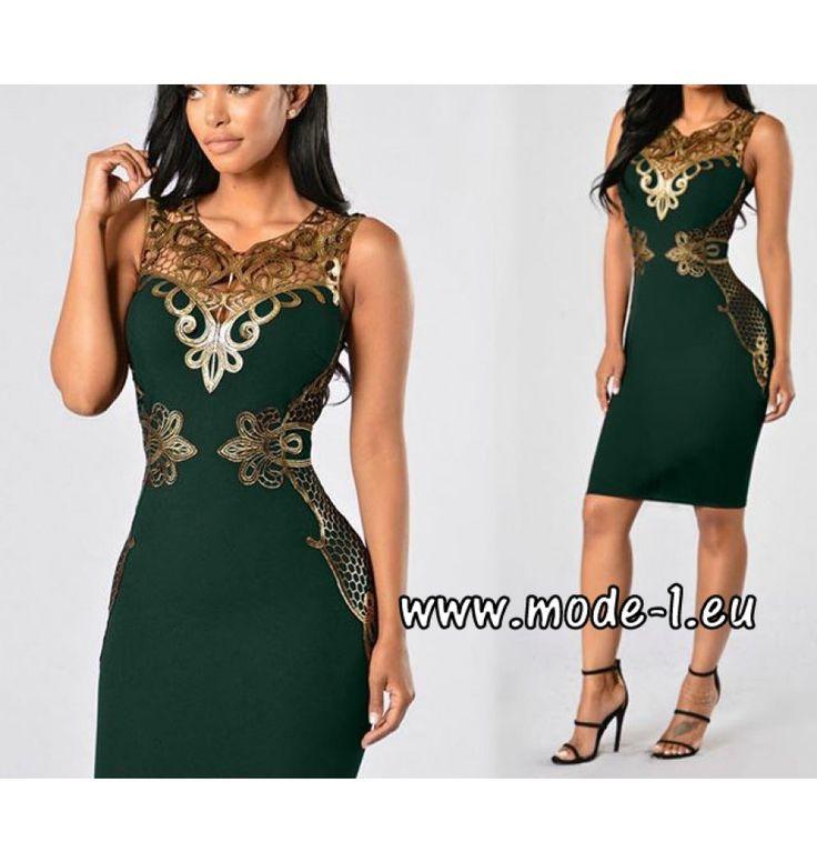 Etui Kleid in Dunkelgrün mit Applikationen