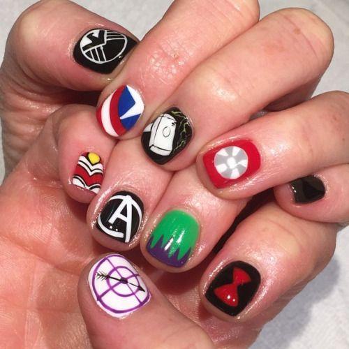 Avengers Nails for Carla #theavengers #nailart #handpainted...