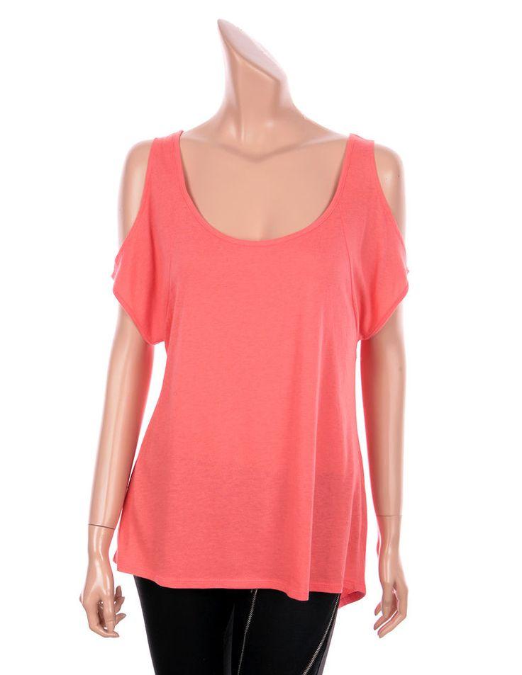 VICTORIA'S SECRET Sexy Cut Out Shoulder Short Sleeve Tees Tops Coral color, 3 sz #VICTORIASSECRET #Cutoutshouldertee