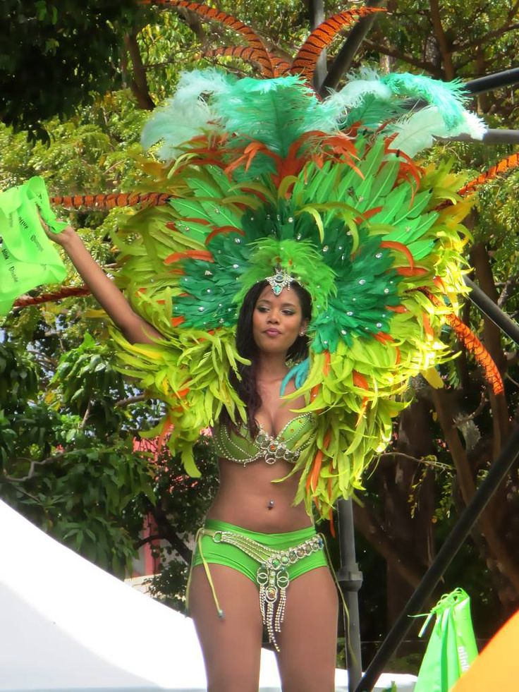 A carnival dancer in Woodford Square at Port of Spain, Trinidad.