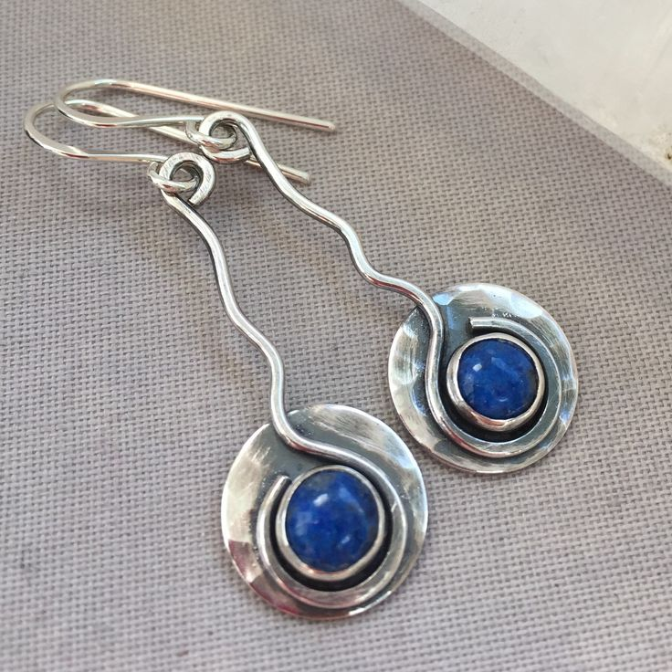 Oxidized Silver Earrings with Lapis Gemstone.