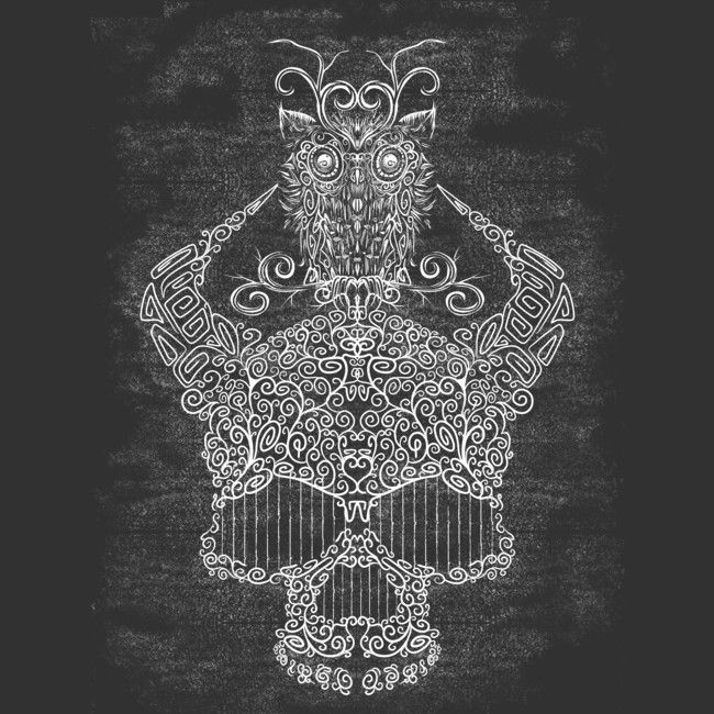 Skull and Owl is a T Shirt designed by Sketchease to illustrate your life and is available at Design By Humans