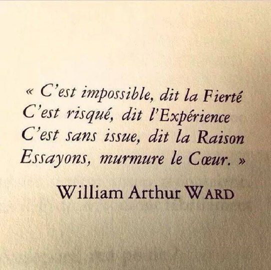 J'aime cette belle citation de l'écrivain William Arthur ward. Elle résume parfaitement la vie, ses doutes, ses peurs, ses désirs et ses forces. ;-)