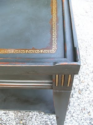 antique leather top end table chalk paint makeover