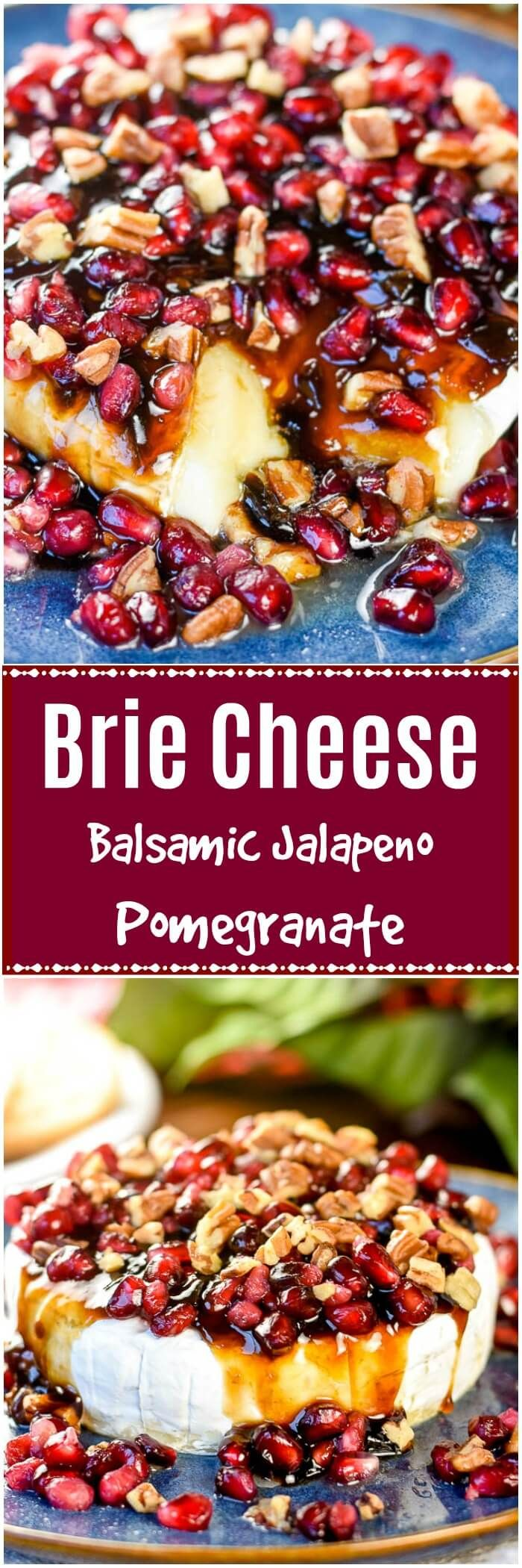 Balsamic Jalapeño Pomegranate Brie Cheese with pecans makes an elegant gourmet holiday appetizer that is ready in 5 minutes with only 4 ingredients.  #BrieCheese #HolidayAppetizer  via @flavormosaic