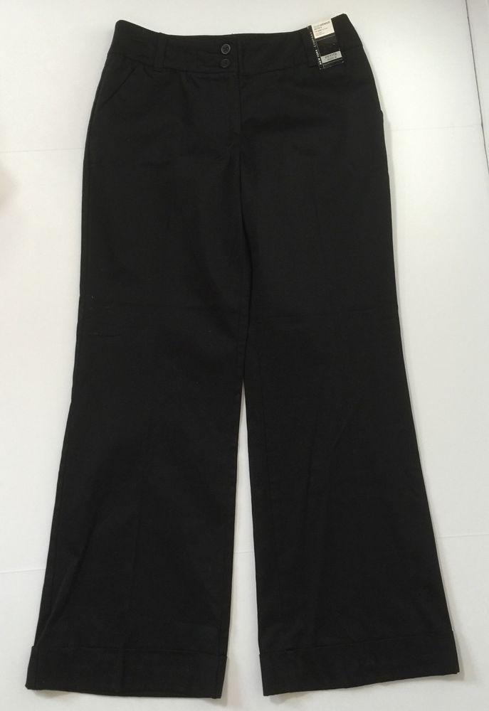 New York & Company Petite Women's Black Soho Trouser Pants Size 6P NWT…