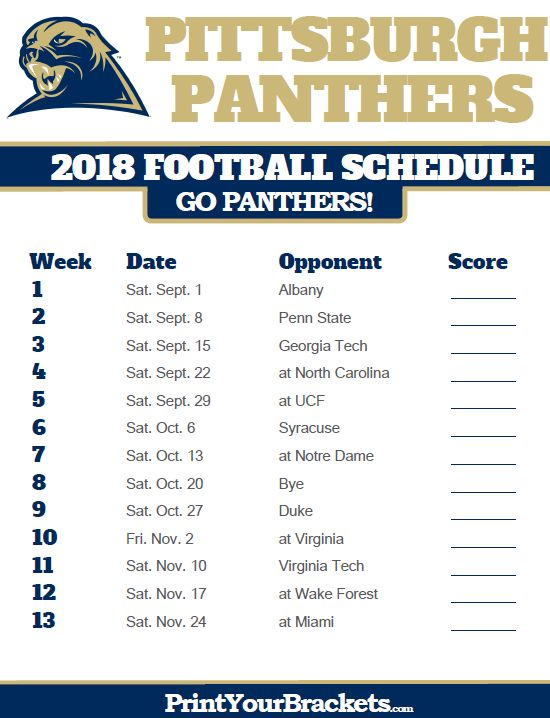 2018 Printable Pittsburgh Panthers Football Schedule