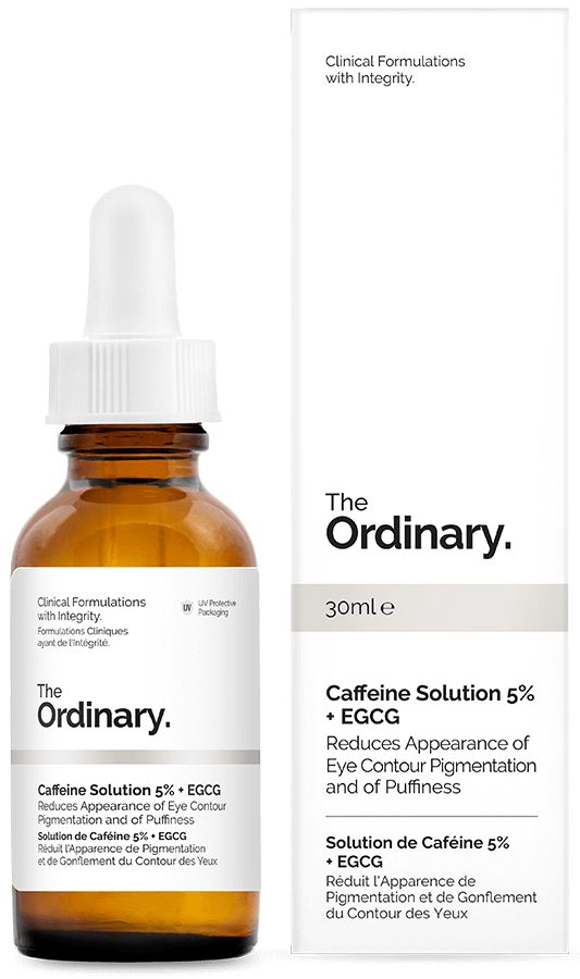 Caffeine Solution 5% + EGCG - 30ml - Reduces Appearance of Eye Contour Pigmentation and of Puffiness. This light-textured formula contains an extremely high 5% concentration of caffeine, supplemented with highly-purified Epigallocatechin Gallatyl Glucoside (EGCG) from green tea leaves. Independent studies have shown that topical use of each of caffeine and EGCG can help reduce looks of puffiness and of dark circles in the eye contour.