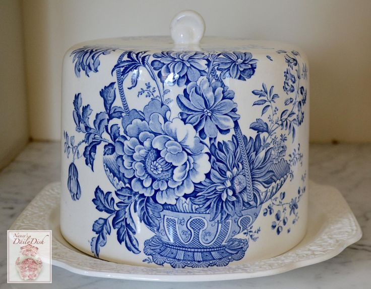 Victorian Basket of Flowers Vintage Charlotte Blue Transferware Cheese Bell / Cheese Dome with Matching Embossed Platter
