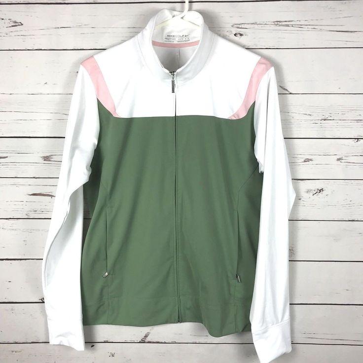 NWT Women Nike Golf Fit Dry Full Zip Track Jacket Size L Fitness White Green #Nike #nike sJackets #nike #nikegolf #trackjacket #golf #fitness #running
