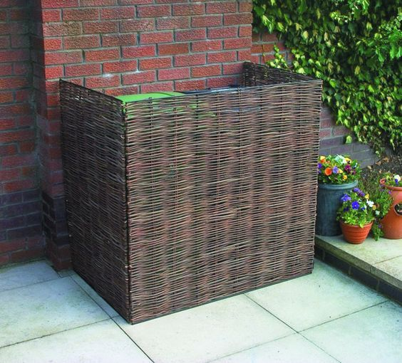 A 3-sided bamboo cover for your ac condenser or your trash receptacles. Can be made by making a metal frame and attach… | Condenser Covers & HVAC Ideas in 2019 | Diy garden fence, Bin shed, Garden
