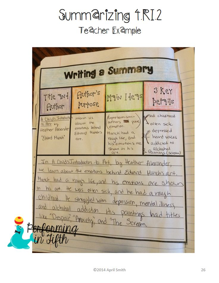 How to write a summary paragraph 4th grade