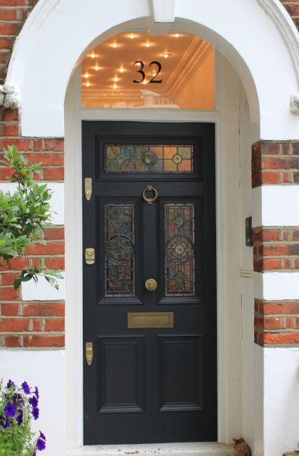 Edwardian front door with leaded light. Great light idea in vestibule.