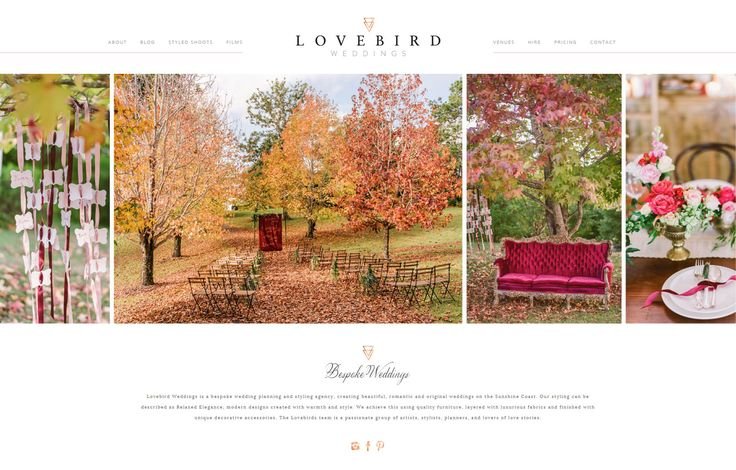 New website for Sunshine Coast bespoke wedding planning and styling agency Lovebird Weddings. @pinsbylovebird