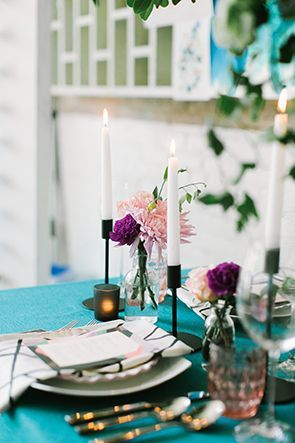 Colorful and modern tablescape