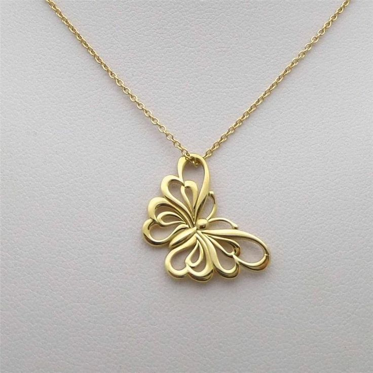 """Tiffany & Co. 18K Gold Lacy Butterfly Necklace 18"""" long"""