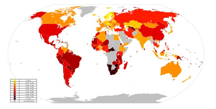 Income inequality worldwide, as measured by the Gini Coefficient