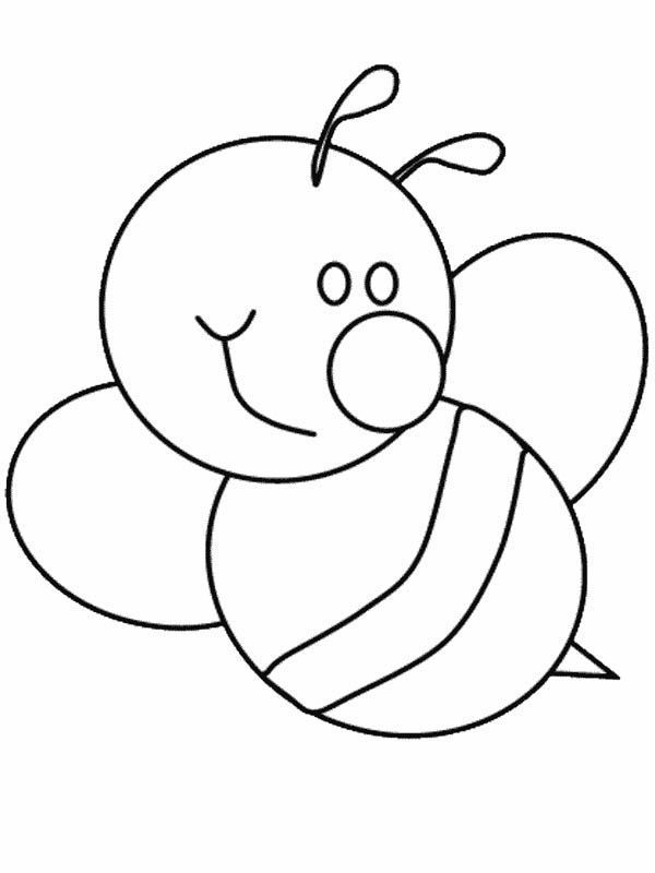 5 Bumblebee Coloring Pages Bumblebee Cute Bumblebee With Big Smile Coloring Page Bee Coloring Pages Bee Template Cute Coloring Pages