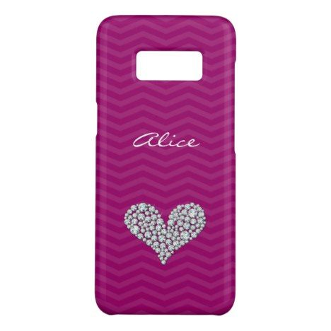 Diamond Heart Purple Chevron Pattern Case-Mate Samsung Galaxy S8 Case #chevron #samsung #galaxys8 #cases #protect