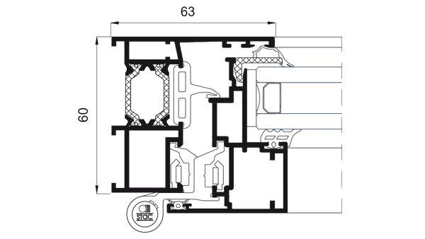 Detalle de la sección del sistema Cor 60 Hoja Oculta RPT