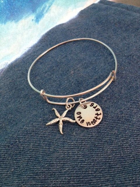 Starfish Story Bangle by WarmTags on Etsy https://www.etsy.com/listing/224680157/starfish-story-bangle