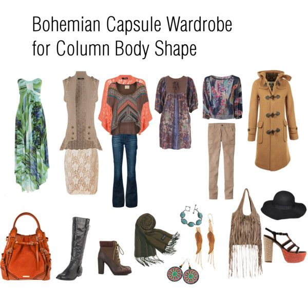 Bohemian capsule wardrobe for Column Body Shape by stylewithpensy on Polyvore featuring AX Paris, Conditions Apply, Jane Norman, WKSHP, Little Mistress, Uniqlo, 7 For All Mankind, G.O. Max, Lucky Brand and Burberry