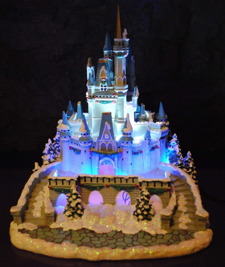 Disney Cake Decor : Disney Village Winter Cinderella Castle Figurine Lights ...