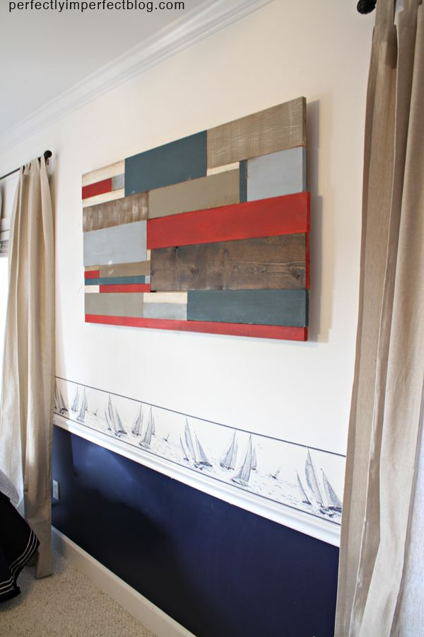 DIY Reclaimed Wood Wall Art Tutorial #diy #wall art #wood walls.  She used Emperor's silk chalk paint for the red.