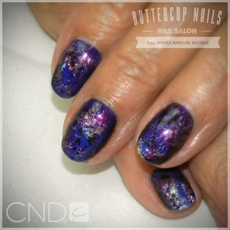 CND Shellac in Blue Eyeshadow with holo silver foil and Poison Plum on top.  #CND #CNDWorld #CNDShellac #Shellac #nails #nail #nailstagram #naildesign #naildesigns #nailaddict #nailpro #nailart #nailartist #nailartdesign #nailartofinstagram #nailartdesigns