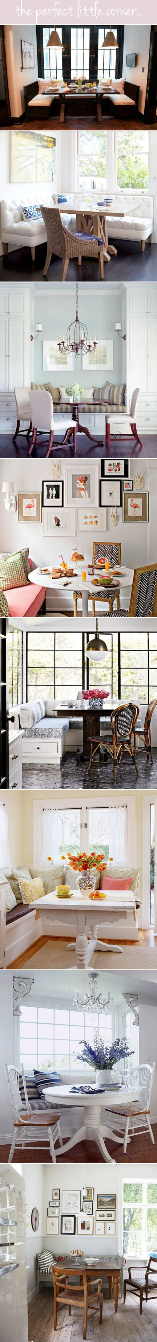 Beautiful Breakfast nooks. Love the zigzag chair one.