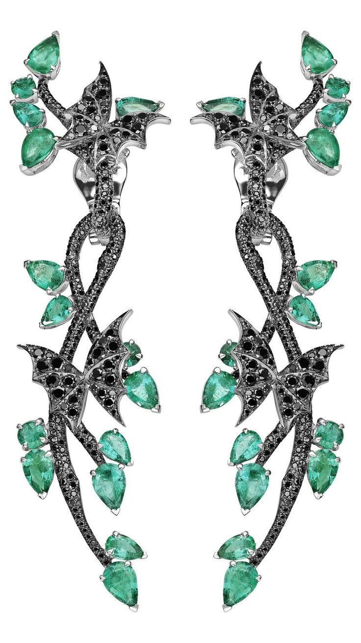 The poisonous #emerald leaves and diamond-set moths of these @swjewellery #StephenWebster Fly By Night Couture #Earrings have us set for the dark side.