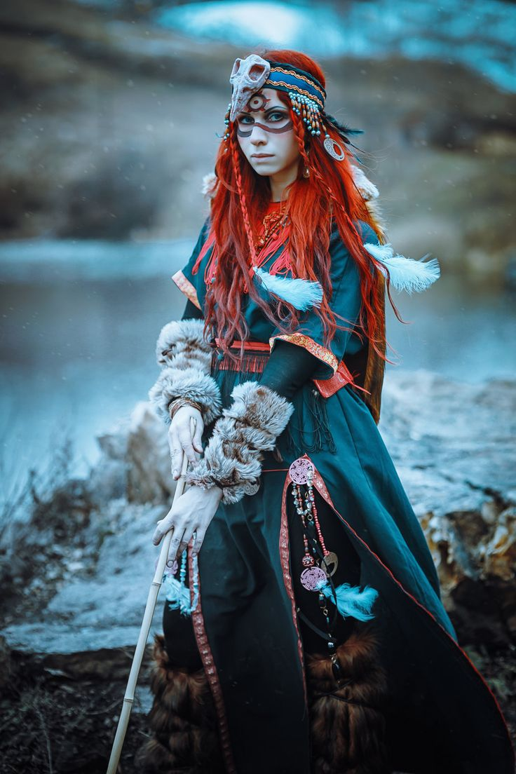Shaman Elena-NeriumOleander druid witch female cosplay costume LARP armor clothes clothing fashion player character npc | Create your own roleplaying game material w/ RPG Bard: www.rpgbard.com | Writing inspiration for Dungeons and Dragons DND D&D Pathfinder PFRPG Warhammer 40k Star Wars Shadowrun Call of Cthulhu Lord of the Rings LoTR + d20 fantasy science fiction scifi horror design | Not Trusty Sword art: click artwork for source