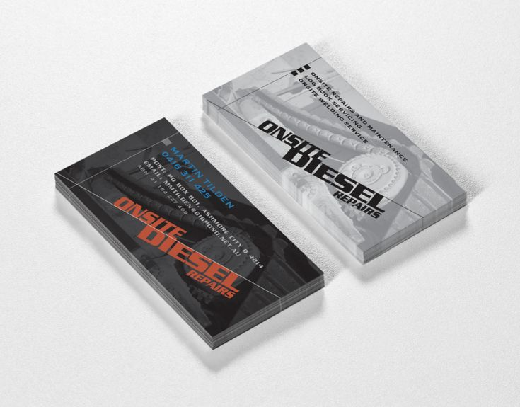 Onsite Diesel Repairs mobile mechanic logo and business card - created by RIS Designs. www.risdesigns.com.au