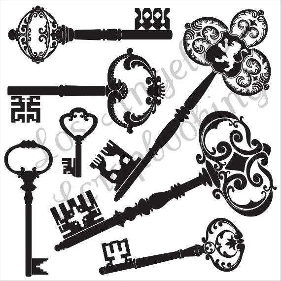 elegant skeleton keys clip art with transparent background great for scrapbook layering. Black Bedroom Furniture Sets. Home Design Ideas