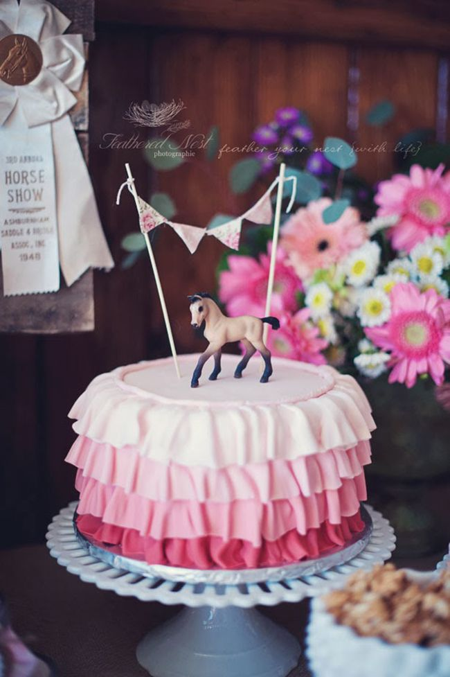 Gorgeous rustic equestrian theme birthday party - pink ruffle cake