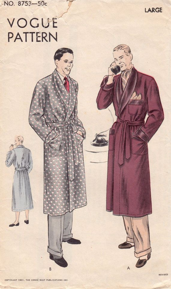 Vintage Sewing Pattern Vogue 8753 Robe for Men Size by Mrsdepew, $19.00