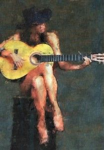 Girl with guitar, Women, Digital painting, sketch