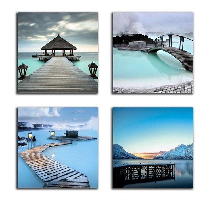 [Framed] Blue Ocean Beach Resort Modern Canvas Art Print Picture Wall Home Decor #NANWind #Modernism