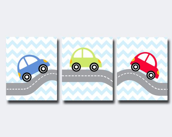 Nursery Art Car Wall Art Prints, Blue , Red and Green Nursery Prints, Baby Boy Nursery Wall Art Print and Bedroom Decor - Custom Color.    This listing