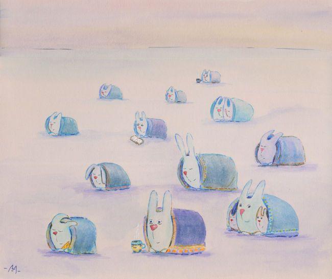 Арктические зайцы. Привал. (Arctic hares. A halt.)